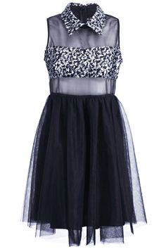 Sheer Top Sequined Dress. Description Black dress, featuring transparent top with silver sequined pointed collar and bandeau design, sleeveless, rear concealed zipper, and layered mesh skirt.  Fabric Dacron. Washing 40 degree machine wash , low iron. #Romwe