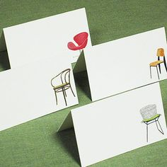 So cool.  Place Cards Mid Century Modern Chairs Set of by nancynikkodesign