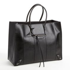 BALENCIAGA Black Lizard Embossed Leather Top Handle Tote Bag