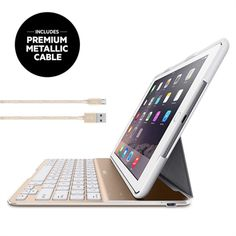 QODE Ultimate Keyboard Case for iPad Air 2 - White/Gold -  HeroImage