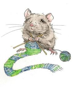 knitting mouse---I crochet! but this little guy is very cute. Knitting Humor, Knitting Projects, Illustrations, Illustration Art, Art Du Fil, Knit Art, Cute Mouse, Hans Christian, Look Vintage