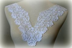 White Lace Applique, Lace Applique, Lace Collar, Custome Design, Couture Design, Dressmaking, Lace Jewelry, Crafting, etc, GL-040