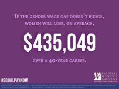 If nothing changes, women could lose more than $400,000 over a career to the wage gap. It's time for #EqualPayNow!