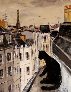 """Saatchi Art Artist ATELIER DE JIEL; Painting, """"Black the black cat on Paris roofs"""" #art"""