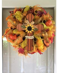 Fall Harvest Cross Mesh Wreath | CraftOutlet.com Photo Contest - CraftOutlet.com