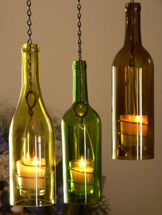 Three Glass Wine Bottle Hanging Hurricane Lanterns by BoMoLuTra