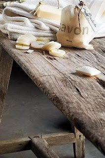 Primitive Table _ Design Daily - Bath Vanity and Côté Bastide Side table Savon Soap, Light Colored Wood, Bath Vanities, Old Wood, Weathered Wood, Rustic Interiors, Amazing Bathrooms, Simple Style, Planting Flowers