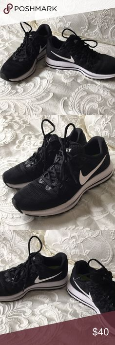 Nike Zoom Vomero 12 Nike Zoom Vomero 12 gym shoes in black with white accents. About a year old and gently used. Still look and feel great! Nike Shoes Sneakers