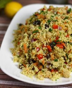 Moroccan chickpea and couscous salad. Will try with millet or quinoa instead of couscous Couscous Salad With Chickpeas, Moroccan Couscous Salad, Couscous Salad Recipes, Coucous Salad, Mediterranean Couscous, Cooking Couscous, Couscous Salad Dressing, Couscous Ideas, Chicken Couscous Salad