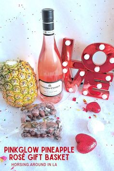 Pinkglow Pineapple Rose Gift Basket from Melissas Produce--The perfect gift for Valentine