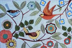 needlepoint images | Maggie Co. Needlepoint Folk Birds Features:
