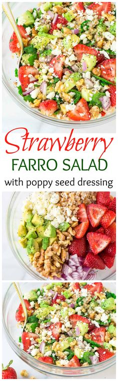 This Strawberry Farro Salad is full of spinach, feta, avocado, and lots of fresh strawberries. Topped with a sweet balsamic poppyseed dressing. The perfect summer meal! Recipe at www.wellplated.com @wellplated:
