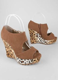 fuzzy leopard print cut-out wedge $19.95 .. You can find these for $6 at Shoe Carnival though