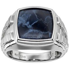 JAJAFOOK 9.5mm Blue and Black Carbon Fiber Stainless Steel Ring Wedding Band Polished Finish