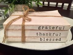 Grateful Thankful Blessed Decorative Book Stack Farmhouse Rustic Shabby Chic Decor