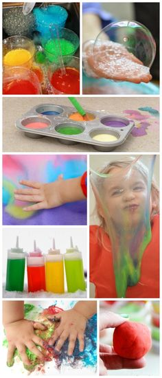 30 ways to play With Kool-aid including recipes for bubbles, paints, play doughs, fun Science experiments, and edible slime . So many neat ideas! {Kool-aid is now on my grocery list!}