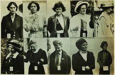 Fotografias de monitoramento de militantes sufragistas detidas por atacarem museus e obras de arte. Feitas à revelia com a primeira câmera fotográfica adquirida pela Scotland Yard, em Londres, em 1914, as fotos mostram algumas militantes de olhos fechados e bocas fanzidas para dificultar sua identificação (© National Portrait Gallery, Londres)