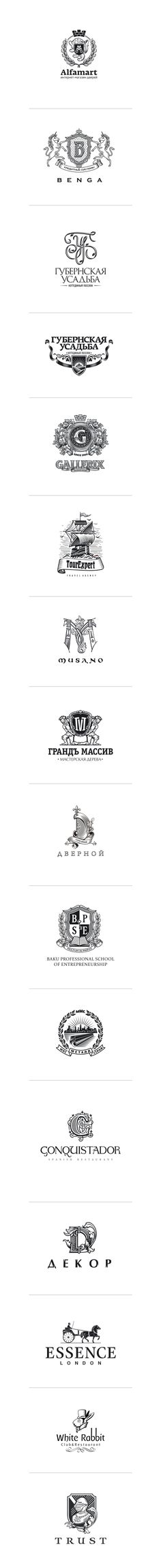 Logos in heraldic style by Alexey Markin, via Behance