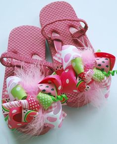 boutique WATERMELON FUNKY FUN bows on flip flop sandals by andjane, $22.99