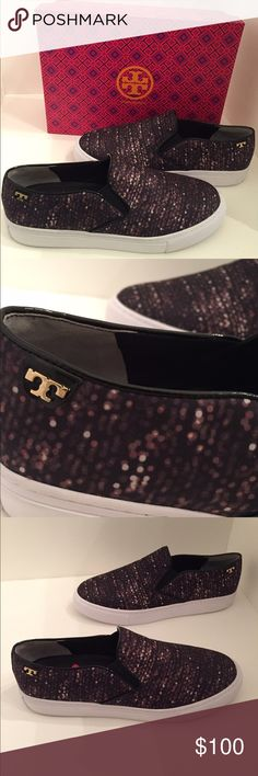 Tory Burch satin slip on sneakers 8.5 Tory Burch satin flash all over slip  on sneakers