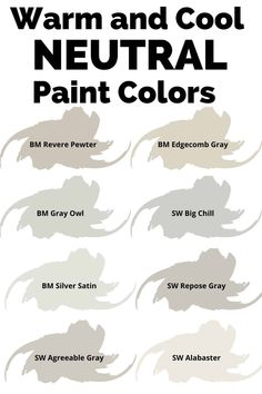 If you need a neutral paint color, check out some of the best from Benjamin Moore and Sherwin Williams. There is a mixture of warm and cool neutral paint colors. #painting #paintcolors #neutral #home #diy #interiors