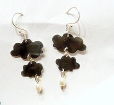 silver clouds with freshwater pearl rain by willowhousesilver, £30.00