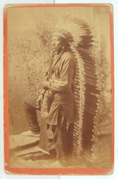 1880's NATIVE AMERICAN ARAPAHO INDIAN CABINET CARD PHOTO OF CHIEF BUFFALO WALLOW