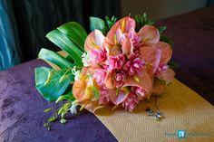 Bridal Bouquet - Pink Ginger, Anthuriums and White Dendrobium Orchids #bloomingdesignsja #HalfMoonResort #CaribbeanWeddings
