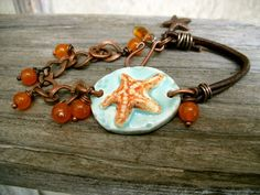 Beach braceletstarfish ceramic earthenware focal by 316clay, $22.90