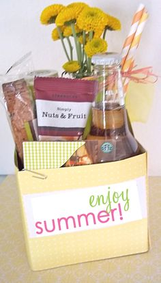 "A teacher would enjoy kicking off the summer w/this:  - IZZE soda box   - vanilla frappuccino bottle  - bundle of striped paper straws  - small glass bud vase filled w/yellow mini button flowers  - gift card  - biscotti  - package of fruit and nuts trail mix   A label w/paper ""ENJOY THE SUMMA"" glued to the front."