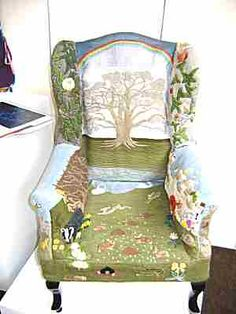 This beautiful child's chair was designed by Dr Isobel Elliott who was Mistress of Embroidery at Gloucester Cathedral. She has been an embroidery teacher for several organisations including the Embroiderer's Guild.