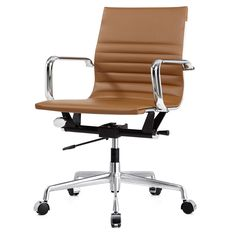 The M348 Office Chair is a mid century modern office chair made of commercial grade aluminum and premium leatherette. Comfortable and stylish,it has tilt and height adjustments as well as tension control.