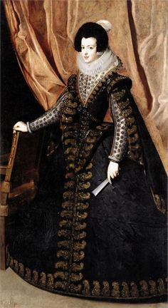 Isabel de Borbón, by Diego Velázquez. Elisabeth of France born in 1602 was Queen consort of Spain and Portugal as the first wife of King Philip IV of Spain. Renaissance Mode, Costume Renaissance, Renaissance Fashion, Historical Costume, Historical Clothing, Diego Velazquez, Queen Isabella, Queen Elizabeth, 17th Century Fashion