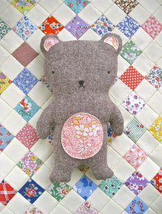 HANDCRAFTED SOFT TOY TEDDY BEAR - hand appliqued vintage fabric tummy & ears