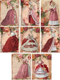 Vintage inspired Marie Antoinette valentine ATC altered art note cards set of 8 Art Vintage, Decoupage Vintage, Vintage Tags, Vintage Ephemera, Vintage Prints, Vintage Labels, Images Victoriennes, Victorian Art, Victorian Women
