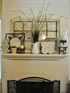 Read MoreMantle ideas-not sure about that window frame just sitting there like a big fat mistake but everything else is great lmao, Mantle decor. Country Decor, Farmhouse Decor, Rustic Mantle Decor, Old Windows, Antique Windows, Vintage Windows, My Living Room, Decoration, Vignettes