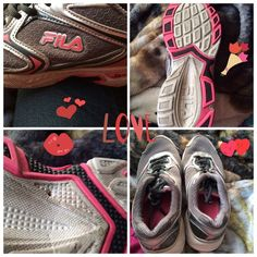 Pink and grey Fila tennis shoes Size 11 in women's, they are in very good shape there is a hole on the bottom of the right shoe. The hole does not have any effect wth comfort. They are very comfortable, but 11 is 1 size too big, I am a size 10-10 1/2 they are very good shoes I just trip on them a lot because of them being too big. Any reasonable offers are available. Fila Shoes Sneakers