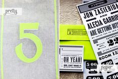 Neon table numbers via Grey Likes Weddings; Jon + Alecia's Wedding Invitations by Kate Gabriel | Images via their respective sources