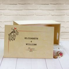 Personalised Large Wooden Keepsake Box - Peacocks Design