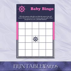 Nautical Navy and Pink Baby Shower Bingo Game by PrintableWares