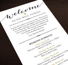 Itinerary Cards for Wedding Hotel Welcome Bag – Printed Schedule – Destination Wedding – Welcome Bag Card – Thank You – Wedding Weekend – Destination Wedding Welcome Bags Destination Wedding Welcome Bag, Wedding Welcome Bags, Beach Wedding Favors, Wedding Favor Bags, Nautical Wedding, Wedding Souvenir, Wedding Invitations, Destination Weddings, Invites
