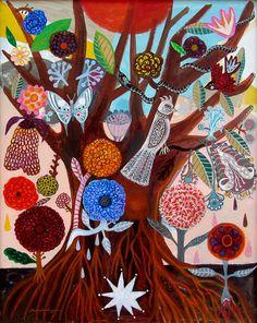 Arbol de la Vida - 8 x10 aprox. inches inches Print. Mexican flowers, art painting flowers, bohemian, folk, funky, naive, primitive.