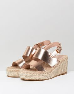 6a3c3ac5ed4 ASOS TOTO Wide Fit Espadrille Wedges - Gold