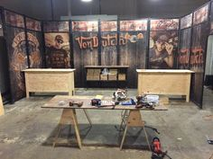 Building our sales tables for trade-show. Von Dutch we build it!