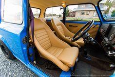 tan leather interior in a Mini