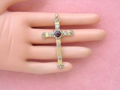 "ANTIQUE VICTORIAN 1.42ctw MINE DIAMOND 1.25ct GARNET 18K 2"" CROSS PENDANT c1880 #Handmade #CrossPendant"