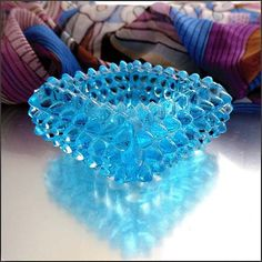 Vintage Salt Cellar Fenton Aqua Blue Hobnail Glass $14.95