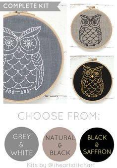 Owl embroidery kit, DIY embroidery hoop art, modern hand embroidery pattern, owl needlecraft, relaxing hobby, neutral wall decor