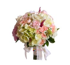 The bouquet consists of hydrangea, freesia, roses, ornitogalum, lisianthus, greenery and accessories. Astilbe, Hydrangea, Greenery, Floral Wreath, Bouquet, Wreaths, Roses, Wedding, Home Decor