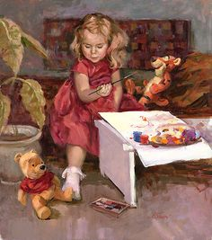 Winnie the Pooh - Portrait of Pooh Bear - Tigger - Original - Irene Sheri - World-Wide-Art.com